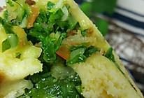 玉米面发面饼(干虾小菜馅)的做法