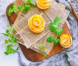 #秋天怎么吃#黄桃玫瑰卷—手抓饼版的做法