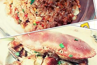 美味面包蟹(一蟹两吃:蟹黄炒饭、姜葱炒蟹)