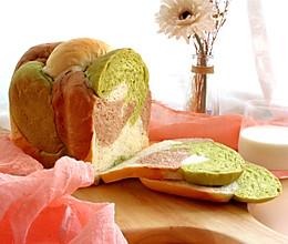 面包机三色吐司(一次发酵)的做法