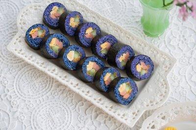 治愈系地中海蓝蝶豆花紫菜包饭+寿司双拼
