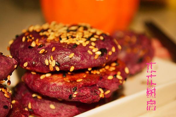 梦幻紫色的健康味道-----紫薯芝麻饼的做法