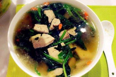 【蓓妈美食】菠菜猪肝汤