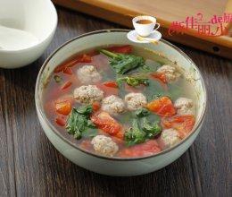 番茄木耳菜肉丸汤的做法