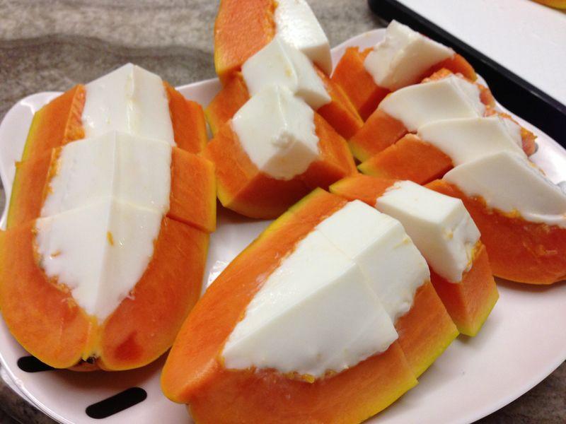 木瓜椰汁糕的做法_【图解】木瓜椰汁糕怎么做好吃