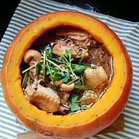 南瓜碗蒸鸡的做法图解5