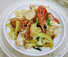 花菜炒蟹的做法