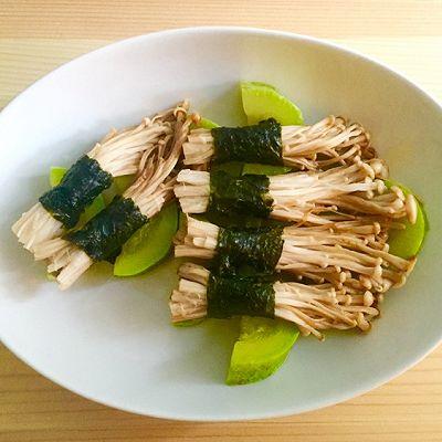 海苔金针菇卷 + 烧翠玉瓜 —— 素食·一人食
