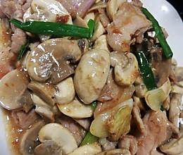 白蘑菇炒肉片的做法