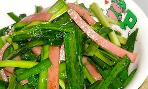 韭菜炒午餐肉的做法