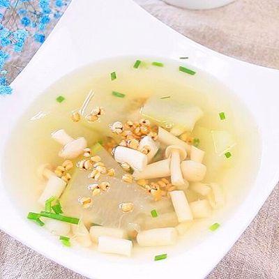 海鲜菇冬瓜薏米汤