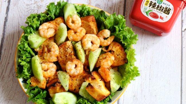 #一勺葱伴侣,成就招牌美味#烤豆腐虾仁的做法