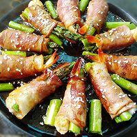 芦笋鲜虾培根卷的做法图解8