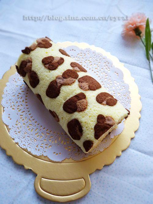 豹纹瑞士卷---奶油栗子夹心的做法