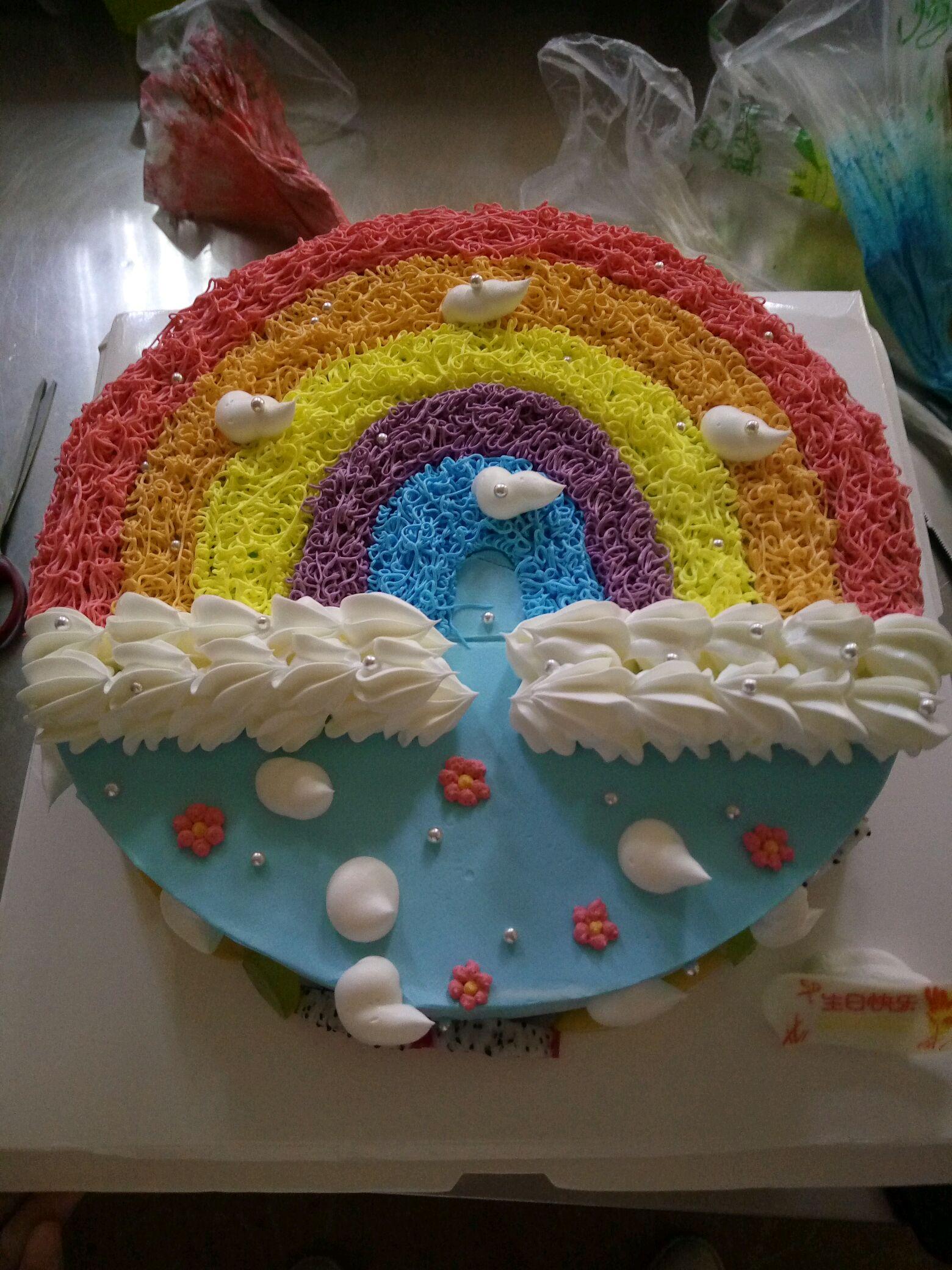 30–60分钟       主料 蛋糕胚一个 淡奶油 彩虹裱花蛋糕的做法步骤