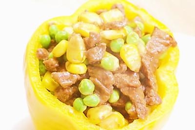 黄椒牛肉盅 宝宝辅食,豌豆+玉米+胡萝卜