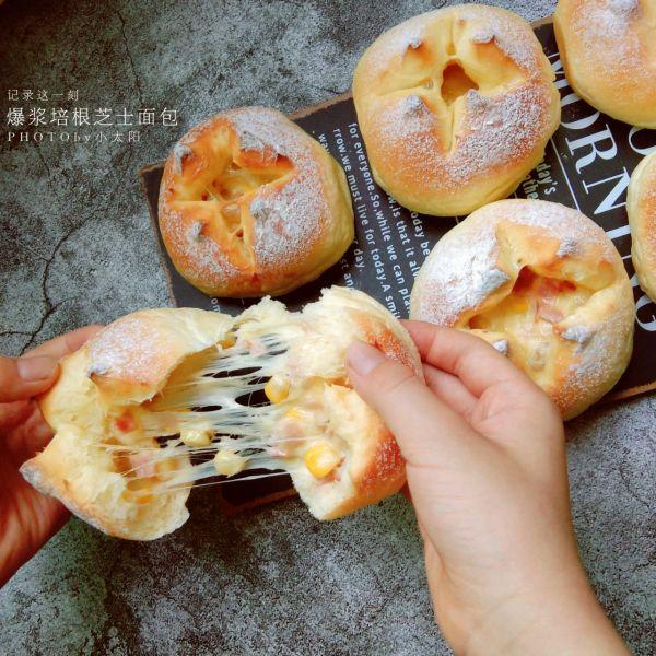(超好吃的咸口面包)爆浆培根芝士面包的做法