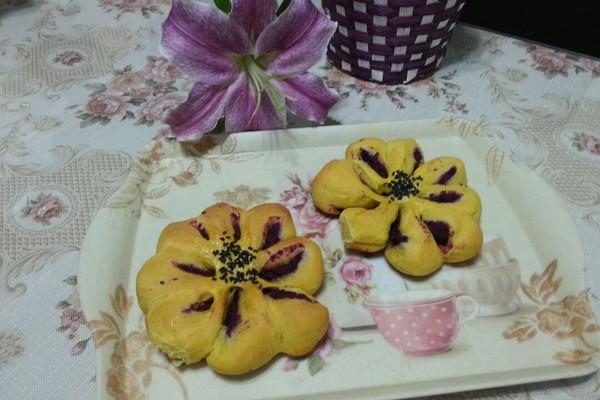紫薯馅南瓜面包的做法