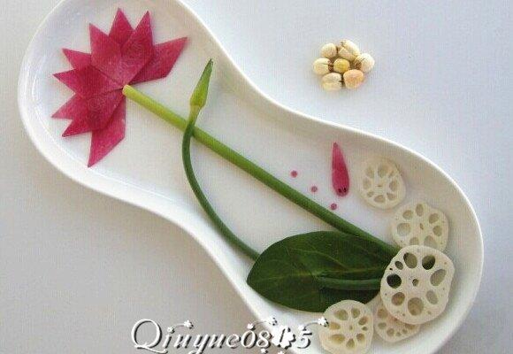 餐盘画:莲花的做法_【图解】餐盘画:莲花怎么做好吃