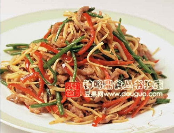 韭菜花竹笋炒肉丝的做法