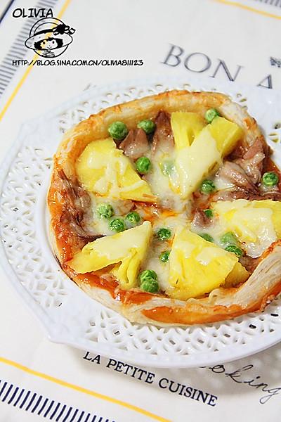 10分钟早餐—飞饼版【菠萝金枪鱼披萨】的做法