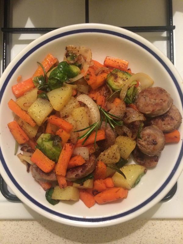 米兰香肠煎蔬菜的做法
