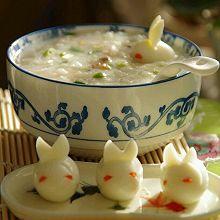 嘟仔早餐系列之胡萝卜香菇瘦肉粥、鹌鹑蛋之小兔子乖乖