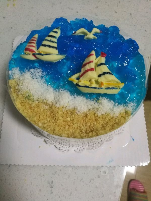 一帆风顺,大展宏图海洋蛋糕的做法