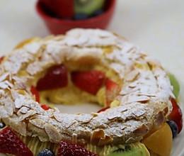 能吃出甜蜜感的情人节西点 --- 水果杏仁奶油花环泡芙的做法