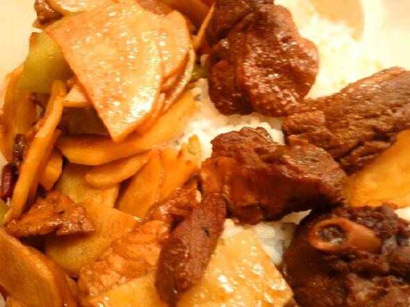 烧鸭子,炒土豆片图片