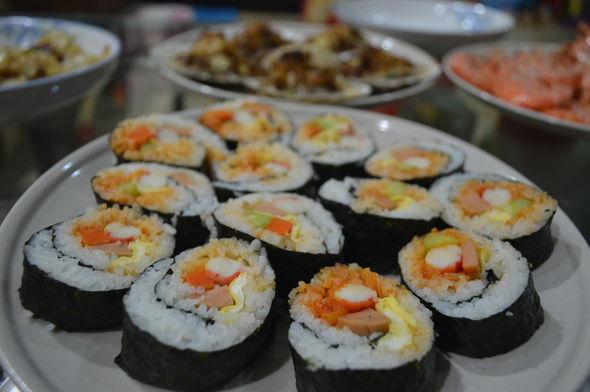 中秋海鲜大餐{蟹棒火腿寿司