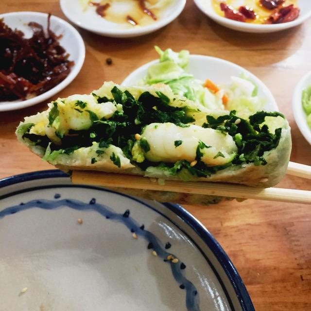 菠菜鸡蛋虾仁馅饼