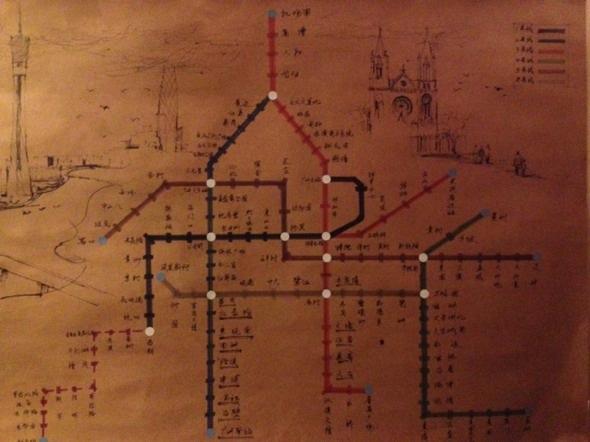 手绘地铁线路图