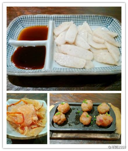 渔火的桌子,墙上的手绘图和手抄菜单,鱼饼 肉丸 海蛰,鱼丸汤 海鲜面