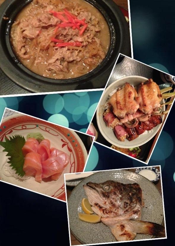 鹽燒鮭魚頭、燒鳥串、煮牛肉