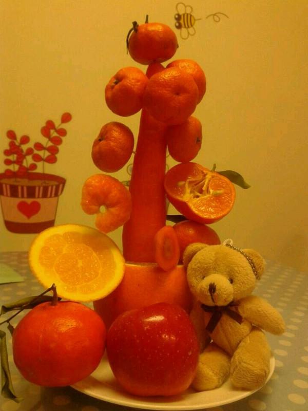 心扉的信做的水果圣诞树的做法