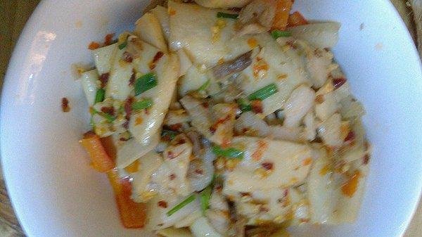 杏包菇肉丝的做法