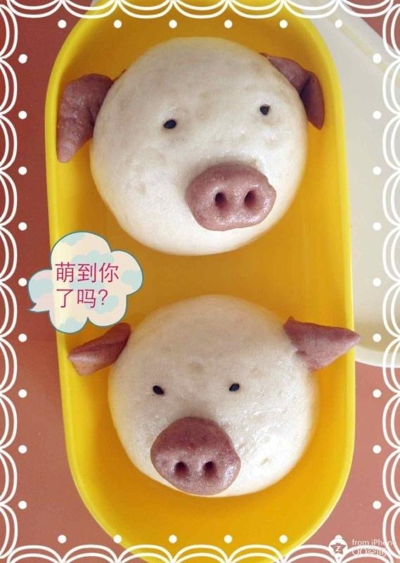 冰糖喔喔做的diy卖萌的小猪馒头的做法