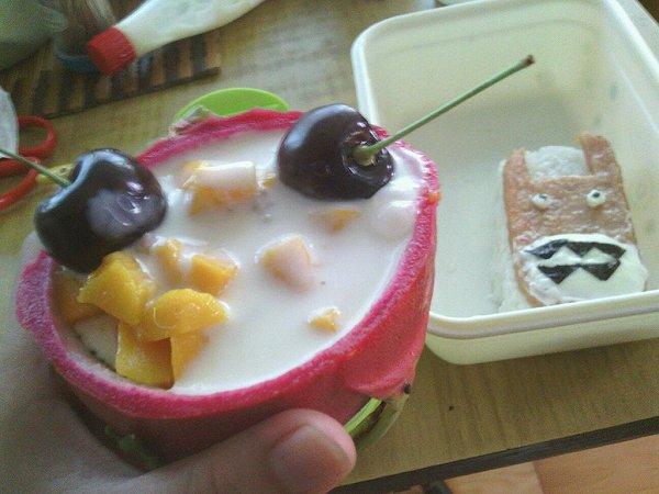 创意火龙果酸奶沙拉船,深夜食堂减肥食谱图片