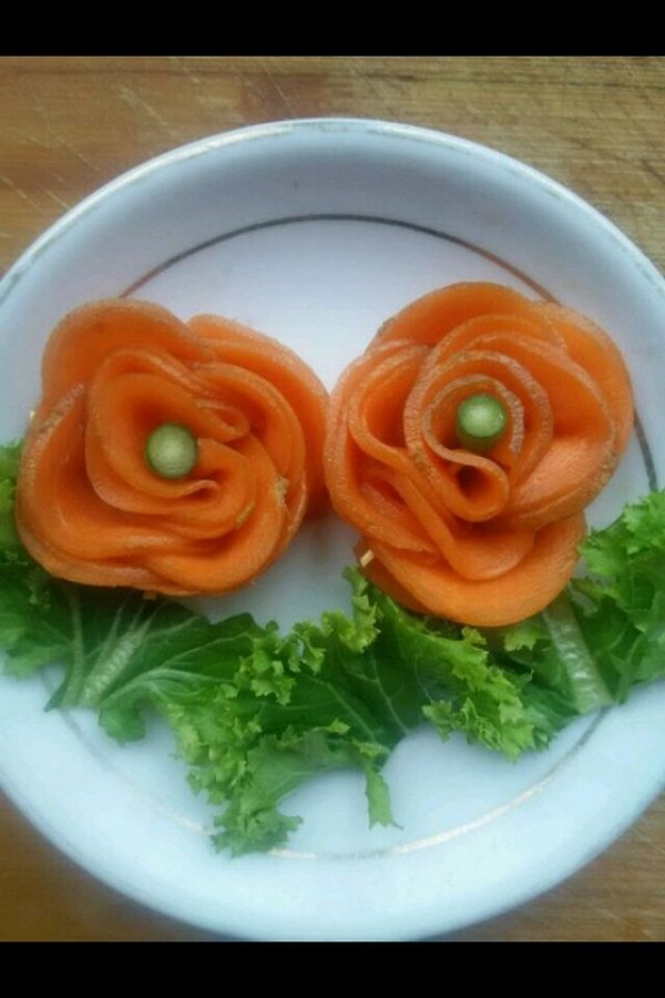 依然如故94的胡萝卜玫瑰花做法的学习成果照