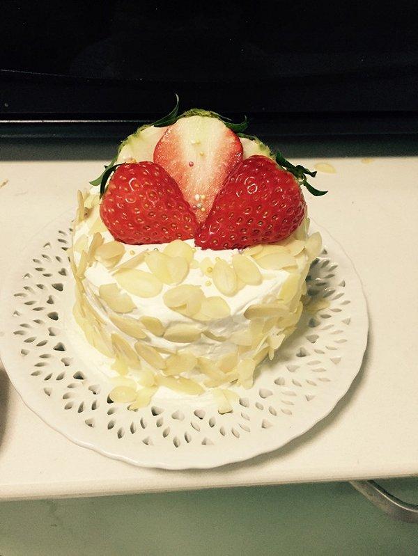 自游泳的杏仁水果正方形戚风生日蛋糕做法的学习成果