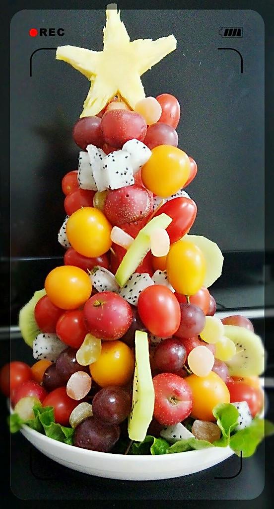 左边耳环的水果圣诞树做法的学习成果照