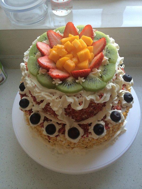 皮皮629的水果双层蛋糕做法的学习成果照