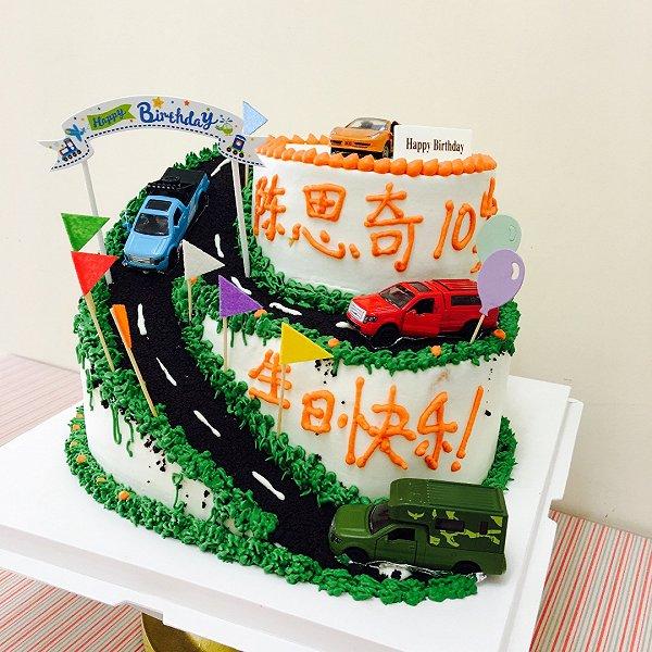 汽车总动员水果奶油蛋糕