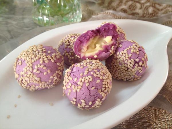 好玩的拉丝~紫薯芝士球的做法
