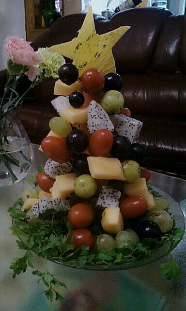 看心情的水果圣诞树做法的学习成果照