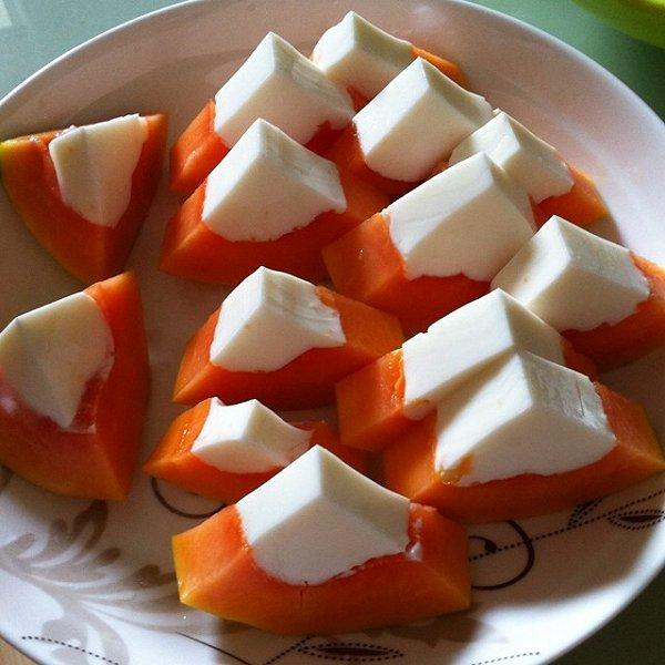 【木瓜椰奶冻】消暑甜品的做法
