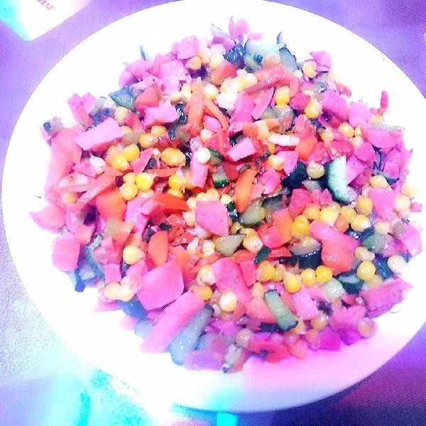豆粉8小可爱的火腿肠黄瓜胡萝卜炒甜玉米粒做法的学习