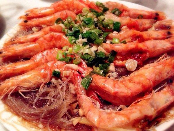 蒜蓉葱油开片虾的做法