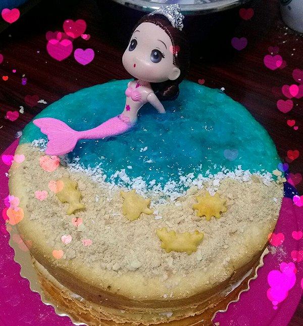 海洋美人鱼蛋糕#豆果5周年图片